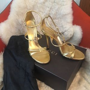 Authentic Gucci Gold Heels, Size 39